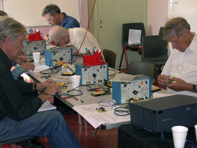 West London Meccano Society members working on their circuits