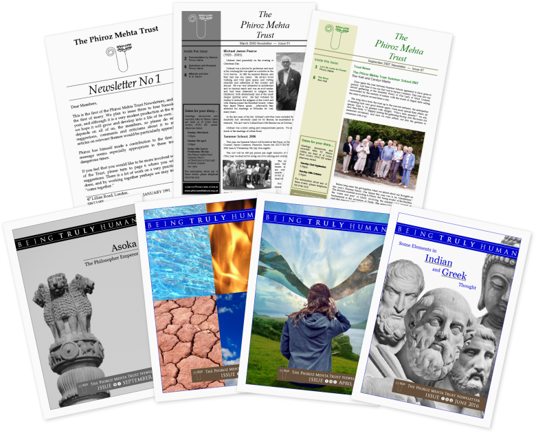 A collage of Phiroz Mehta Trust newsletters
